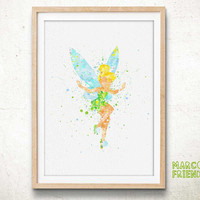 Tinker Bell, Peter Pan - Watercolor, Art Print, Home Wall decor, Watercolor Print, Disney Princess Poster