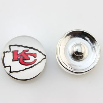 Kansas City Chiefs 18mm Glass Snap Button Jewelry USA Football Team Faceted Glass Snap Fit Snap Bracelet Fashion Snap Jewelry