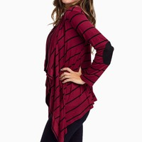 Burgundy-Striped-Suede-Elbow-Patch-Cardigan