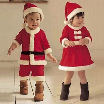 2016 Baby Boys/Girls Christmas Claus Santa Dress+Hat Outfit Costume Clothes HU