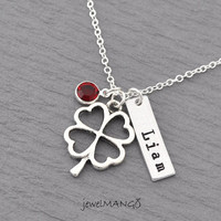 Shamrock Necklace Personalized birthstone necklace mommy necklace, shamrock, lucky charm, hand stamped jewelry, name necklace, gifts for her