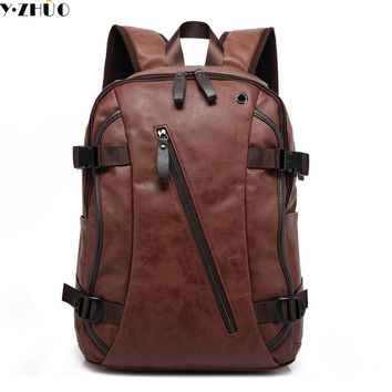 new 2017 leather man bag backpacks vintage double shoulder bags mens travel duffel bag mochila escolar school Laptop bag