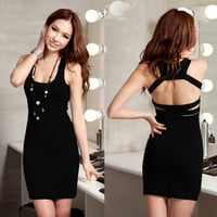 Strap Back Dress - Black