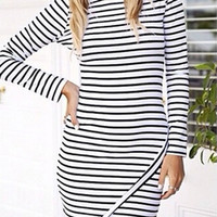 White Long Sleeve Striped Bodycon Mini Dress