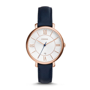 Jacqueline Date Leather Watch, Navy