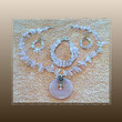 Handmade Rose Quartz Necklace Triple-Strand Bracelet & Earrings Jewelry Set, 3 pc Affordable Statement Jewelry, Cruise Jewelry, Fun Jewelry