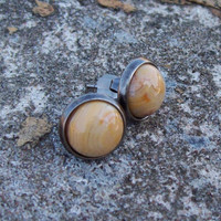 Post Gemstone Earrings - Crazy Lace Agate Cabochon Earrings in Antiqued Silver Bezel Cup