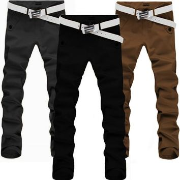 2017 New Mens Spring Autumn Fashion Clothing Cotton Slim Fit Straight Long Trousers Male Casual Classic Pants High Quality