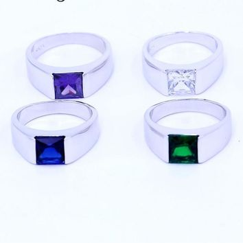 4 colors Birthstone Wedding ring for Men