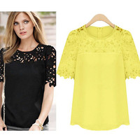 Lace Sleeve Splicing Chiffon Tops