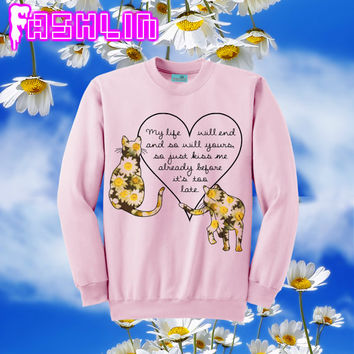 KAWAII Daisy Cats Romantic Quote Heart Pink Sweatshirt // Pastel Grunge // fASHLIN