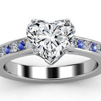 Engagement Ring - Heart Diamond Engagement Ring Blue Sapphires & Diamonds Band in White Gold - ES22HSBD