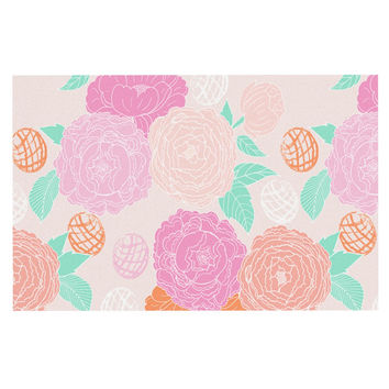 "Anneline Sophia ""Peonies Pink"" Peach Teal Decorative Door Mat"