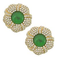 Ciner Grace Pave Emerald Flower Earrings | SOPHIESCLOSET.COM | Designer Jewelry & Accessories
