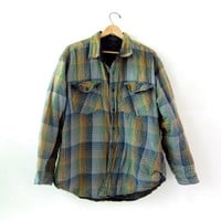 Vintage Plaid Flannel Jacket / Grunge Shirt / Button up shirt