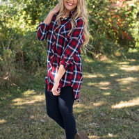 Classic Plaid Tunic - Red