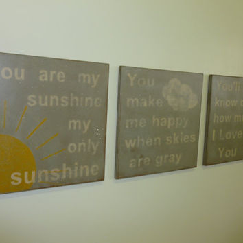 You Are My Sunshine Sign Nursery Sign Kids Sign Wall Decor Rustic Sign Vintage Sign