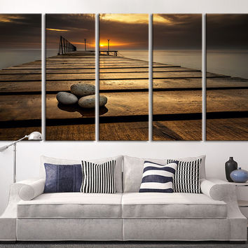 Extra Large Wall Art Canvas Stones On Wood Pier Sunset Ocean