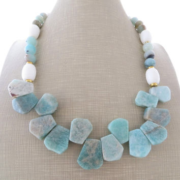 Amazonite necklace, big bold necklace, chunky stone necklace, sky blue bib necklace, white agate necklace, gemstone choker, modern jewelry
