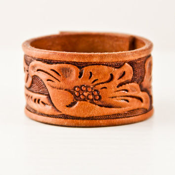SALE Wristband Cuff Bracelet Tooled Leather Western, Southwestern, Jewelry, Rainwheel Fashion Accessories Gift Ideas - Clearance - Discount