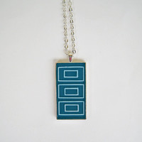 Teal geometric minimal pendant necklace blue-green emerald abstract hand painted concentric rectangles silver bohemian boho jewelry handmade