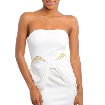 Sweetheart Bustle Front Strapless Dress