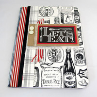 Altered Composition Book - Vintage Recipe Journal - Rustic Journal - Vintage Kitchen - Foodie Journal - Black and Ivory - Recipe Notebook