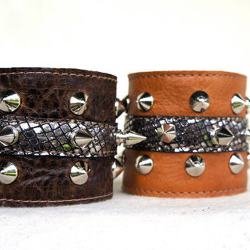 Camel Leather Cuff with Silver Mesh Lambskin and Studs