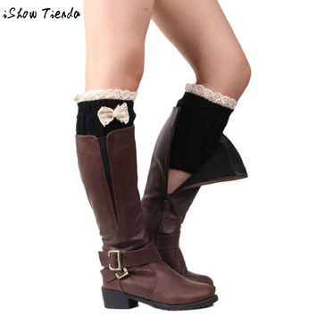 Leg Warmers Lace Floral Edge Bowknot Crochet Knitted Boot Cuffs Polainas Para as Mulheres #2805