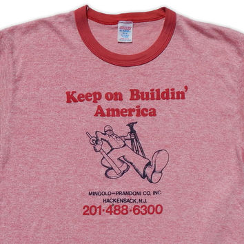 Authentic Vintage 1970s Keep On Building America Robert Crumb Style Truckin Character Red Heathered Ringer