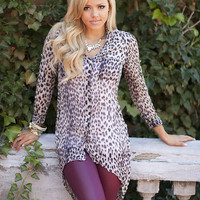 Sexy Leopard High Low Tunic Light Brown