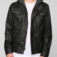Charles & 1/2 Faux-Leather Hooded Jacket - Urban Outfitters