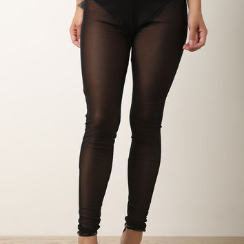 High Rise Mesh Brief Leggings