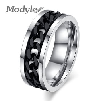 Fashion Spinner Black Chain Ring For Men Stainless Steel Wedding Mens Ring