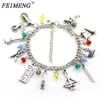 TV Series The Walking Dead Bracelet Crossbow Axe Zombie Baseball Bat Gun Motorcycle Pendant Bracelets For Women Fashion Jewelry