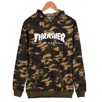 "(7 color)""thrasher""letters camouflage print flame  man and women long sleeve swater Hoodie pullover"