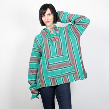 Vintage Baja Poncho Jacket 1990s Teal Green Red Yellow Stripe Baja Jacket Grunge 90s Jacket 1990s Hoodie Surfer Skater Hippie XL Extra Large