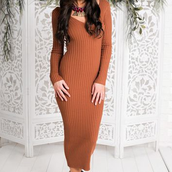 Midnight Skyline Midi Sweater Dress (Rust)