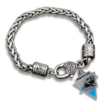 Zinc Alloy Rhodium Plated Football Sports Team Logo Rhinestone Enamel Carolina Panthers Bracelets
