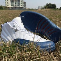 "Air Jordan 12 Retro AJ12 ""French Blue"" Basketball Shoe"