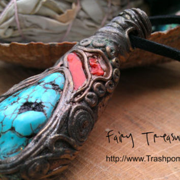 Natural Turquoise Gemstone With Red Coral Mystical Healing  Amulet Pendant FREE SHIPPING to selected countries