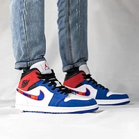 AJ1 Air Jordan 1 Mid white and blue stitching color embroidery big hook high-top sneakers shoes