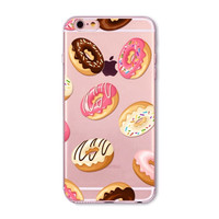 Ice Cream Donuts Macaron Pattern Transparent Silicone Mobile Phone Protective Case Cover For iPhone 6 6S 4.7""