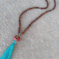 Mala beads, Hand made Silk Tassel, and Tibetan guru bead 108 bead mala necklace