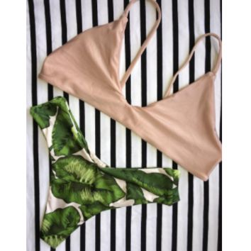 Green Leaf Natural Bikini Set