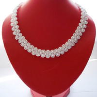 SALE Pearl necklace Wedding Pearl white necklace Classic necklace white wedding necklace glass beads necklace beadwork beads necklace