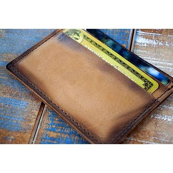 5-Slot Super Slim Front Pocket Card Sleeve Wallet - The Scratch (Burnt Timber Leather)