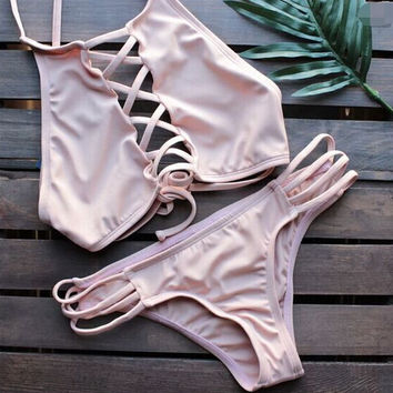 New Women Hollow Out Pink Bikini Set Swimsuit Beach Bathing Suits Summer