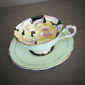 Antique Paragon Green and Black Floral Pattern  yellow pansies tea cup and saucer set, English tea set, Bone china teacup