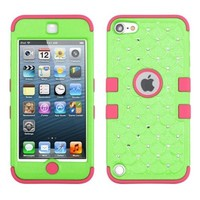 Thousand Eight(TM) iPod touch 5 (5th generation) Heavy Duty Defender Tuff Hybrid Hard Case With Kickstand Case + [FREE Touch Screen Stylus] (Diamond Pearl Green/Electric Pink)